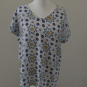Floral pattern mixed media tee from Loft